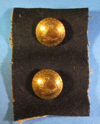 2 Mass Volunteer Militia Buttons,  On Fabric,  1830 ' S Kendrick,  1 Piece photo