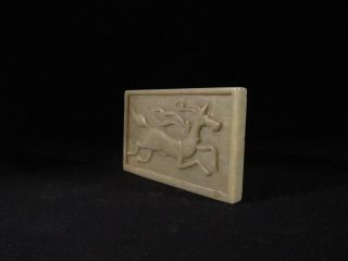 Antique Chinese Carved Stone Plaque Of A Running Horse photo