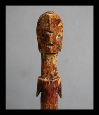 A Red+ White Striped Ancestor Figure From The Adan Tribe Of Ghana,  W Libations photo