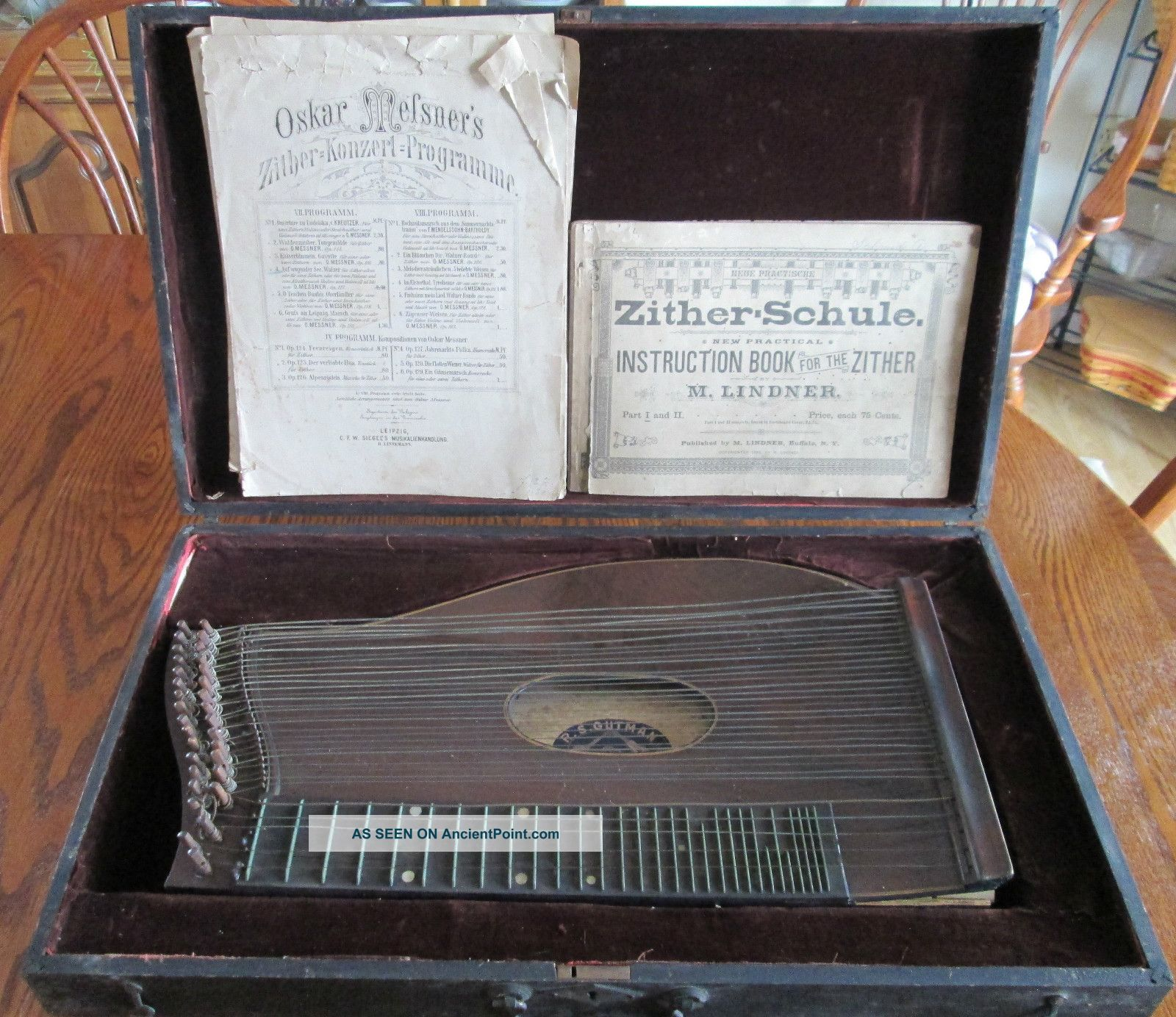 Early Antique Zither Dulcimer Autoharp String Instrument W/ Wooden Case String photo