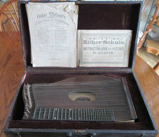 Early Antique Zither Dulcimer Autoharp String Instrument W/ Wooden Case photo