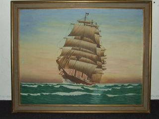 Vintage Framed Maritime Clipper Ship Oil Painting Signed C.  W.  Burrill 1948 photo