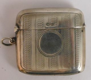 Birmingham British Sterling Silver Pocket Vesta Match Safe 1910,  E.  H.  L.  & S photo