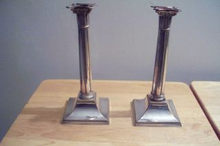Antique Pair Of Classic Silver Over Copper (sheffield?) Candlesticks 10.  5
