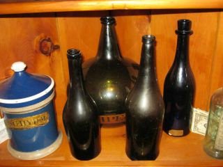 2 Black Glass Wine Bottles Pontil photo