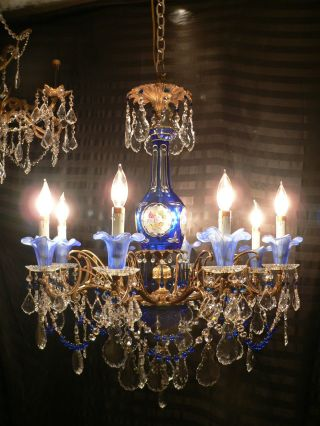 Vintage Brass & Cobalt Blue Murano Tulip & Bohemian Art Glass Chandelier Crystal photo
