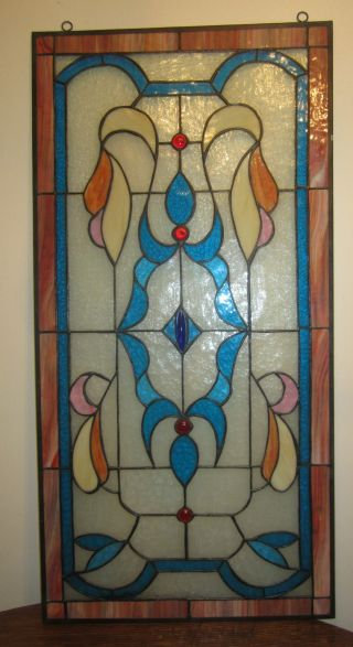 Antique Huge Art Deco Handmade Colored Stain Stained Glass Stylized Window Door photo
