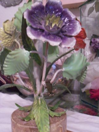Pretty Vintage Italian Tole Lamp With Flowers Tag Made In Italy photo