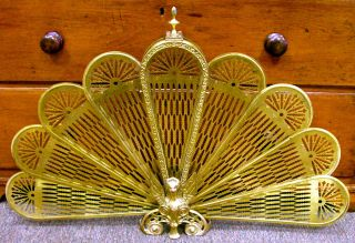 Antique Brass Fireplace Screen Folding Peacock Fan Winged Lion Gargoyle Griffins photo