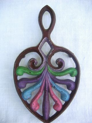 "Antique Wilton Painted Cast Iron ""peacock"" Trivet 5.  25"" photo"
