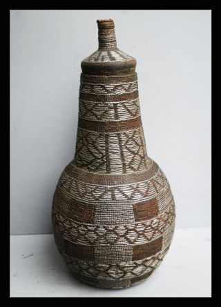 A 44cm Borana Basket With Handsome Silver Wire From The Borana Tribe Of Ethiopia photo