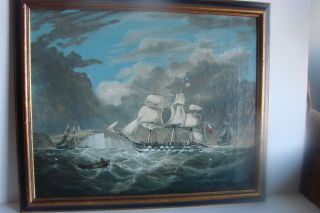 Maritime Painting British Frigates Working Crew,  Flags Artist Signed Ca.  1847 photo
