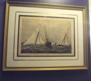Antique Marine Print 1887 America ' S Cup Race W/ Winning Ship,