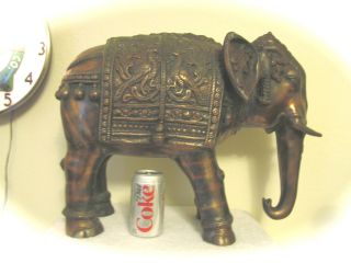 Extra Large Showpiece Antique Copper India Elephant Fully Caparisoned photo