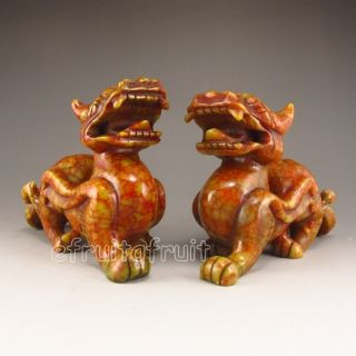 A Pair Of Chinese Jade Statue - Foo Dog photo