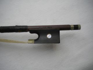 Old German Violin Bow Branded Bausch Nickel Silver/ebony Frog Round C.  1890 - 1920 photo