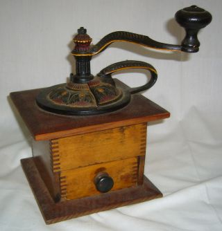 Antique Ornate Side Handled Cast Iron & Dovetailed Wood Coffee Mill Grinder photo