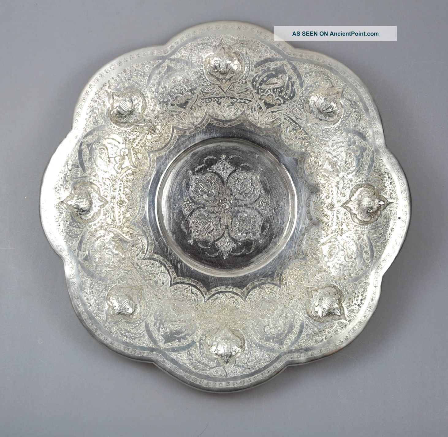 Antique Solid Silver Persian Persia Islamic Plate Charger Bird Flower Engraved Asia photo
