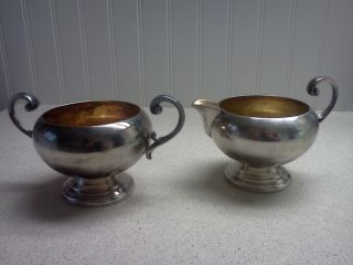 Poole Silver Co.  Bristol Silverplate Creamer And Sugar Bowl photo