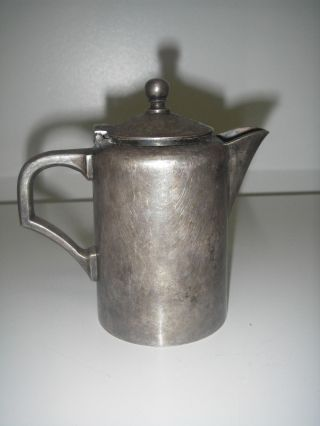 Antique Metalware Metal German Pitcher/coffee Pot Silver Plated Hinged Lid photo
