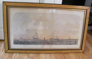 Rare Antique Sperm Whaling Hand Colored Lithograph,  By J.  H.  Bufford. photo