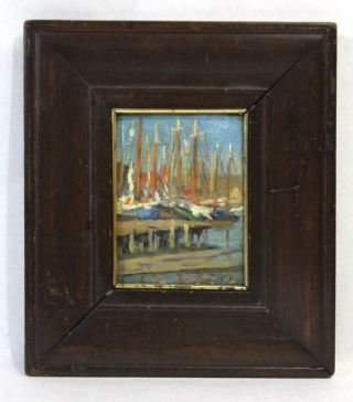 Small Antique Gloucester Harbor Sailboat Masts Impressionist Oil Painting photo