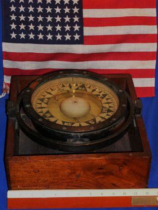 C 1893 E S Ritchie Boston Made For Ts & Jd Negus Ny,  Ny Large 20lbs Ships Compass photo