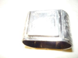 Antique Silver Colored.  Initialed.  Napkin Ring photo