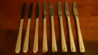 Oneida/community Silverplate Silverware/flatware Milady Knives (set Of 8) photo