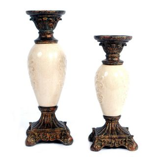 Awesome French Parisian Style Set Of 2 Ceramic Candle Holders. photo