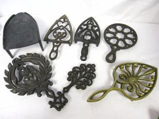 Antique/vintage 7 Cast Iron+brass Trivets Griswold Tree Of Life/ge/eagle/heart+ photo