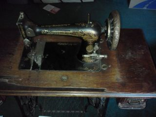 Antique Singer Sewing Machine In Its Wood Casing And Case Cover - Great Find photo