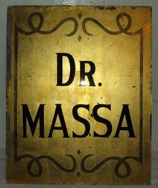 Antique Reverse Painted Glass Doctor ' S Office Apothecary Glass Door Window Sign photo