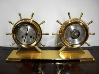 Vintage Salem German Marine Ships Brass Clock And Barometer Service photo
