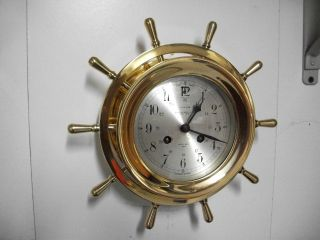 Vintage Salem German Marine Ships Brass Clock Service photo