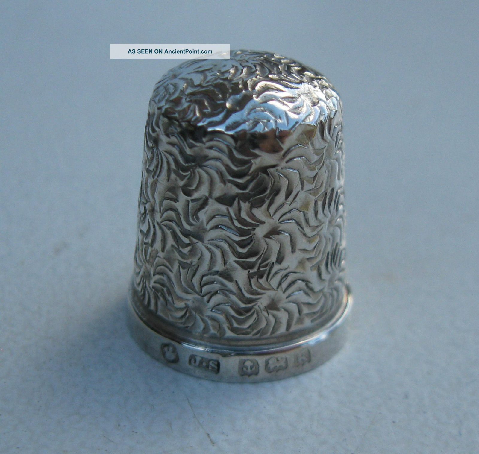 Old Solid Silver Thimble - Hallmarked B ' Ham 1909 Thimbles photo