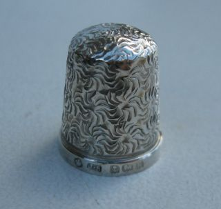 Old Solid Silver Thimble - Hallmarked B ' Ham 1909 photo