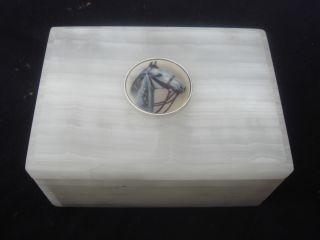 Equestrian Art Deco Enamel + Onyx + Solid Silver Hallmark 1947 London Hinged Lid photo