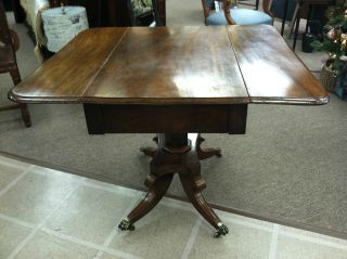 Mahogany Drop Leaf Breakfast Table With Brass Casters Circa 19th Cent. photo