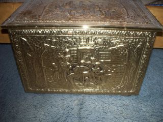 Vintage Brass New England Trunk Chest Storage Box photo