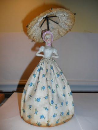 Antique Pincushion/half Doll Nite Light With Skirt&parasol On Frame With Light photo