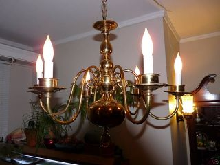 Antique Solid Brass Chandelier With Matching Sconces. photo