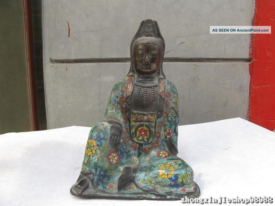 Tibet Buddhism Pure Bronze Cloisonne Freedom Kwan Kuan Yin Buddha Statue Reproductions photo