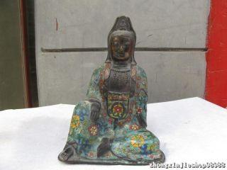 Tibet Buddhism Pure Bronze Cloisonne Freedom Kwan Kuan Yin Buddha Statue photo