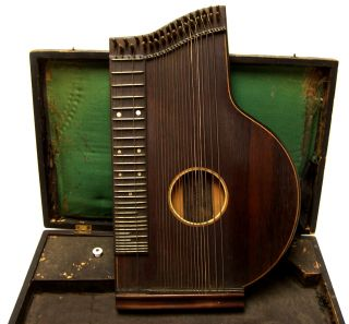 Antique Concert Zither Franz Schwarzer 1880 - 1890 Music With Tuner Case photo