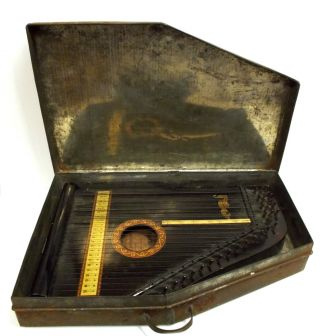 Antique Guitar Zither Menzenhauer & Schmidt No.  2 1897 - 1899 Metal Case Key Music photo