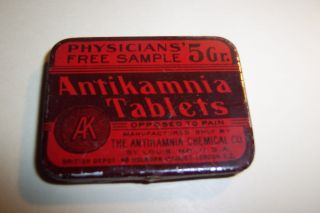 Antikamnia Tablets Dated 1906 Physicians Free Sample Tin photo