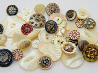 40+ Antique Vintage Mop Carved Shell Buttons Victorian Cut Steel Old Brass photo
