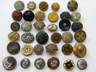 36 Antique Vintage Metal Buttons Victorian Cut Steel Old Brass Enamel Tinies photo