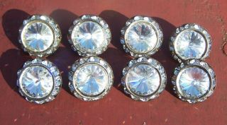 8 Vintage Crystal Rhinestone Glass Faucted Buttons Heavy Metal Shank photo